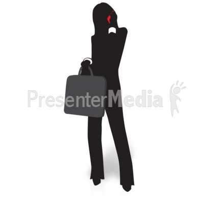 Businesswoman Silhouette Talking Phone Presentation clipart