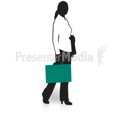 Businesswoman Silhouette Briefcase Presentation clipart