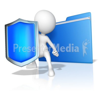 A Figure Protecting Files Presentation clipart
