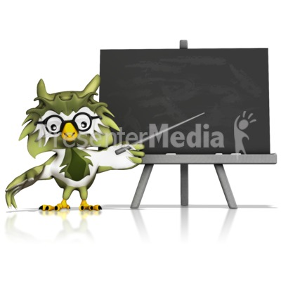 Owl Pointing At Chalkboard Presentation clipart