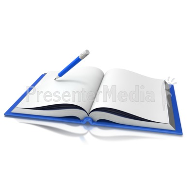 Opened Book Pencil Writing Presentation clipart