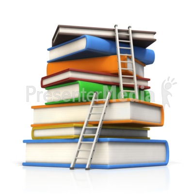 Ladders to Top of Book Stack Presentation clipart