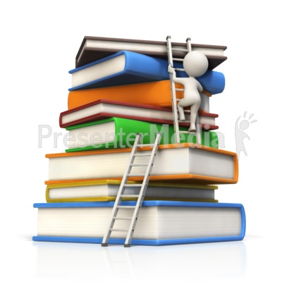 Figure Climbs Large Book Stack to Top Presentation clipart