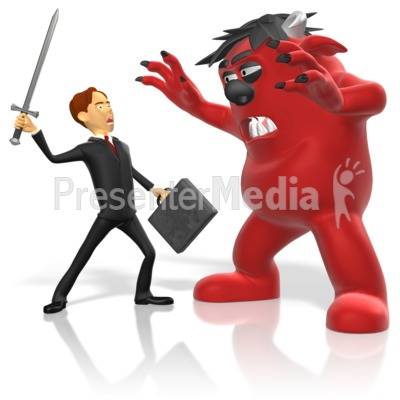 Businessman Sword Fight Monster Presentation clipart