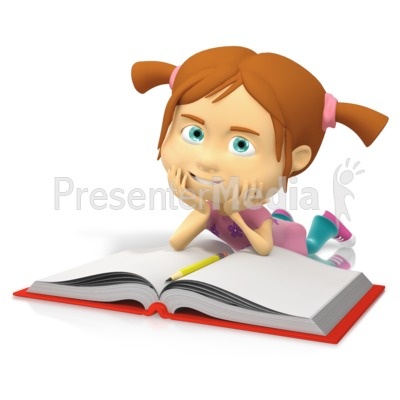 Young Girl Reading Book Presentation clipart