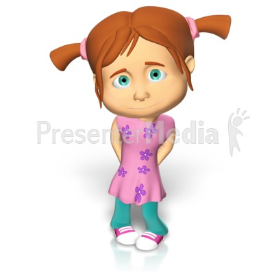 Cute Girl Shy Presentation clipart