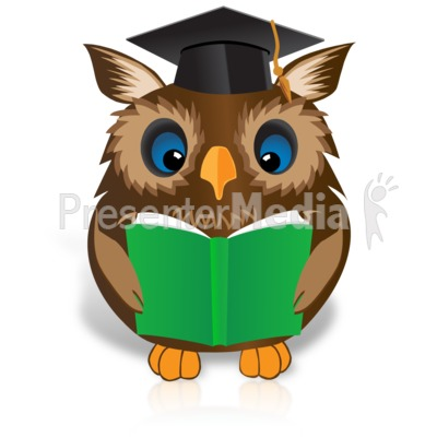 Smart Owl Reading Book Presentation clipart