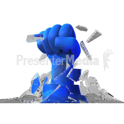 Fist Punch Through Glass Ceiling Presentation clipart