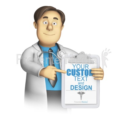 Medical Woker Present Custom Clipboard Presentation clipart
