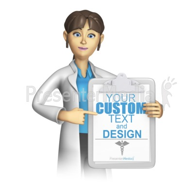 Female Lab Worker Presenting Clipboard Presentation clipart