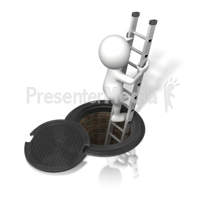 Figure Climbing In/Out of Sewer Presentation clipart