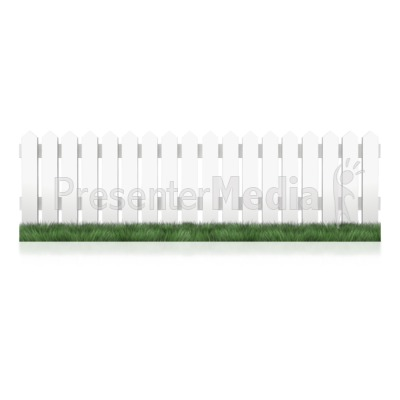 White Picket Fence Grass Presentation clipart