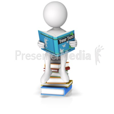 Sitting On Books Reading Custom Book Presentation clipart