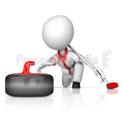 Figure Throwing Curling Stone Presentation clipart