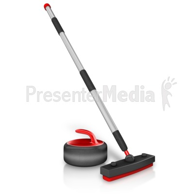 Curling Stick And Stone Presentation clipart