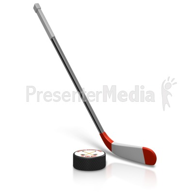 Hockey Puck And Stick Presentation clipart