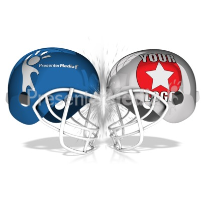 Custom Football Helmets Collide Presentation clipart