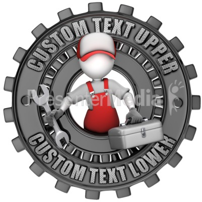 Maintenance Figure Custom Gear Ring Presentation clipart