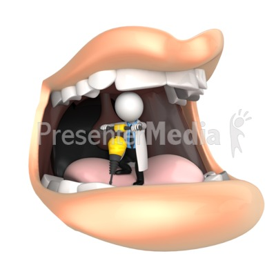 Dentist Jackhammers Mouth Presentation clipart