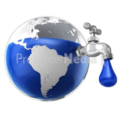 Dripping Water Faucet in the Earth Presentation clipart
