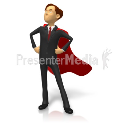 Businessman Superhero Pose Presentation clipart