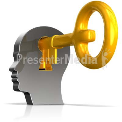 Keyhole In Head With Key Presentation clipart