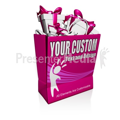Custom Shopping Bag Presents Presentation clipart