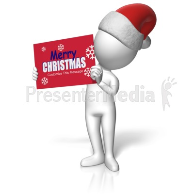 Santa Figure Holding Custom Sign Presentation clipart