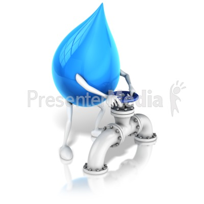 Water Drop Character Turning Valve Presentation clipart