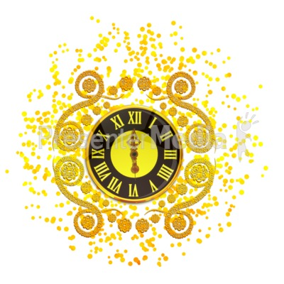 New Years Elegant Clock Presentation clipart