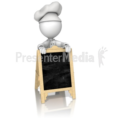 Chef Behind Sidewalk Cafe Sign Presentation clipart