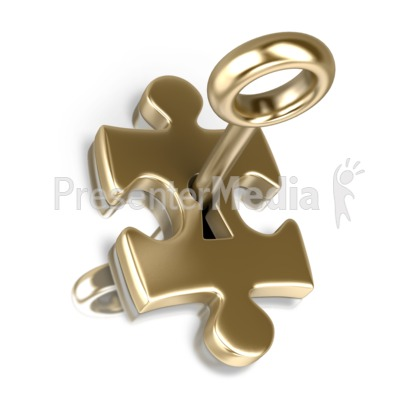 Gold Puzzle Piece Insert Key Presentation clipart