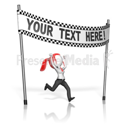 Business Woman At Finish Line Presentation clipart