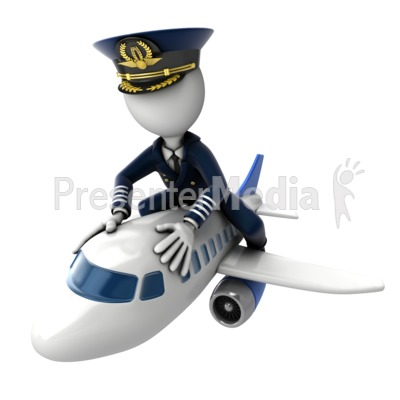 Pilot Flying on Airplane Presentation clipart