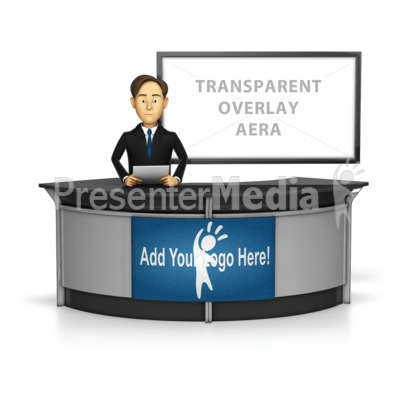 Male Anchor with Transparent Screen Behi Presentation clipart