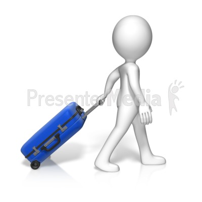 Single Figure Roll Luggage Presentation clipart