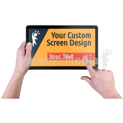 Hands Touch Tablet Custom Presentation clipart