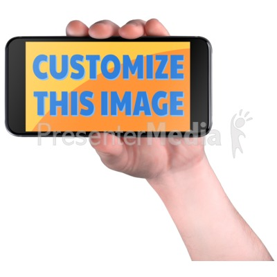 Hand Hold Smart Phone Custom Presentation clipart