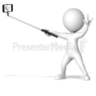 Figure With Selfie Stick Presentation clipart