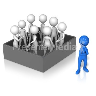 Figure Thinking Outside Group In Box Presentation clipart