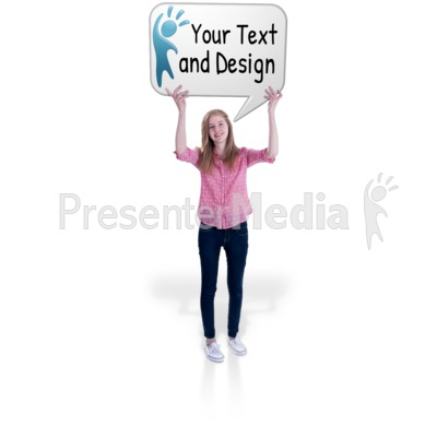 Teen Girl Hold Word Balloon Presentation clipart