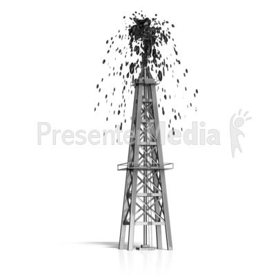 Oil Derrick Shooting Oil Presentation clipart