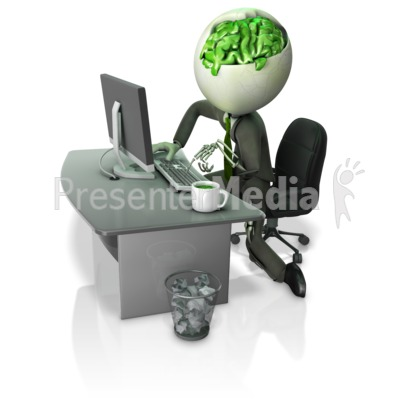 Zombie Working At Desk Presentation clipart