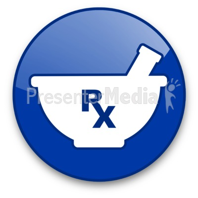 Mortar with Rx Symbol Button Presentation clipart