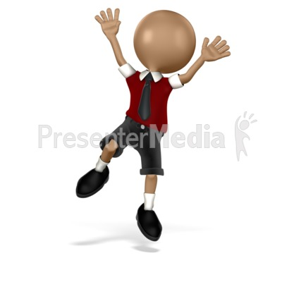 Boy Student Jumping Presentation clipart