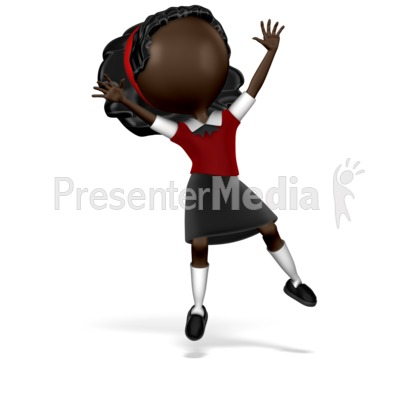 Girl Student Jumping Presentation clipart