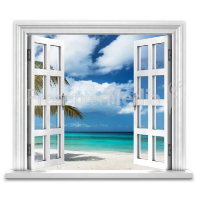 Open Window To Ocean Paradise Presentation clipart