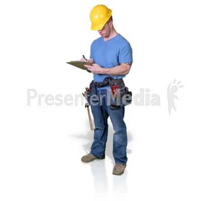 Construction Man Write Clipboard Presentation clipart