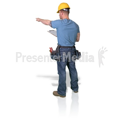 Construction Man Clipboard Point Presentation clipart