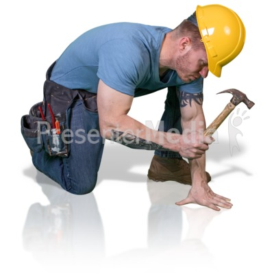 Construction Man Hammer Down Presentation clipart